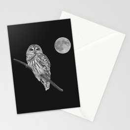 Owl, See the Moon (bw) Stationery Cards