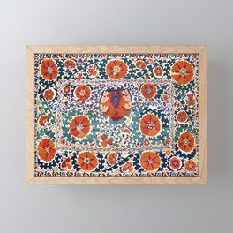 Shakhrisyabz Suzani Uzbekistan Antique Embroidery Print Framed Mini Art Print
