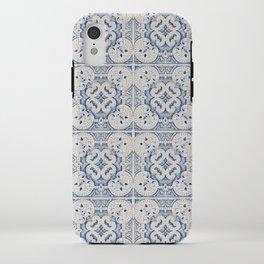 Vintage blue tiles pattern iPhone Case