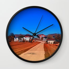 Peaceful countryside village scenery | landscape photography Wall Clock