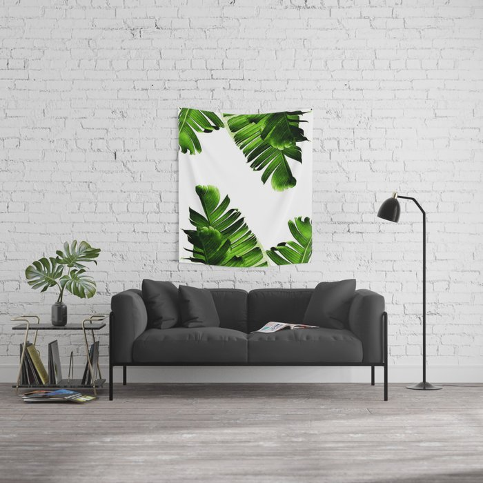 Green banana leaf Wall Tapestry