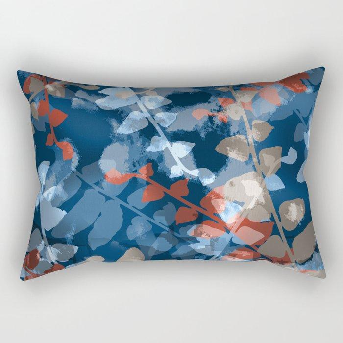 Blue Fern Dance Rectangular Pillow