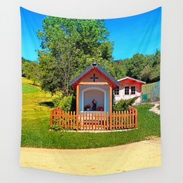 A chapel besides the garden Wall Tapestry