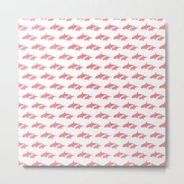 Coral pink Whales pattern Metal Print