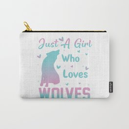 Just a Girl Who Loves Wolves For Women T-Shirt  Carry-All Pouch