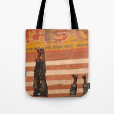 Doing Yoga on the Ghats Tote Bag