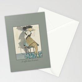 Le reflet dans le mirror | Art Deco Fashion illustration | Vintage Art Nouveau  Stationery Cards
