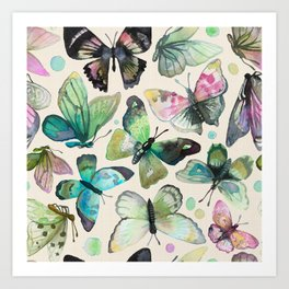 watercolor butterflies Art Print