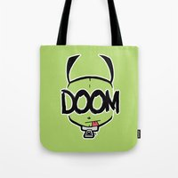 doom Tote Bags featuring DOOM by Oddworld Art