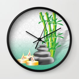 Meditation stones, bamboo and candles Wall Clock