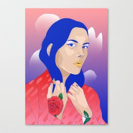 Woman portrait with tattoos and cat eyes Canvas Print