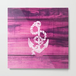 Vintage Nautical Anchor White on Pink Wood Stripes Metal Print