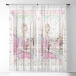 Marie Antoinette keeping in touch Sheer Curtain
