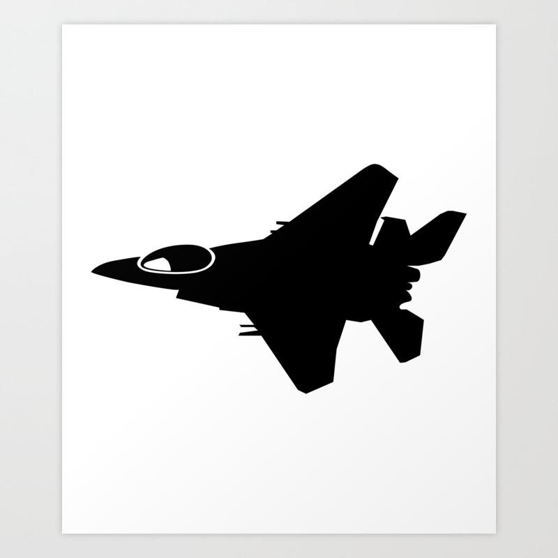 F16 War Plane Jet Silhouette Art Print By Azza1070 Society6