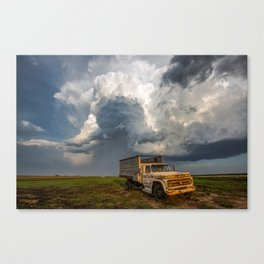 Work Hard - Old Farm Truck and Storm in Southern Kansas Canvas Print