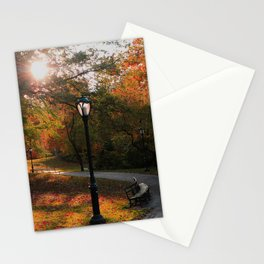 New York City USA Autumn Nature park Bench Street lights Trees Parks Stationery Cards