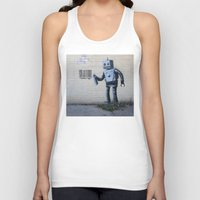 banksy Tank Tops featuring Banksy Robot (Coney Island, NYC) by Limitless Design