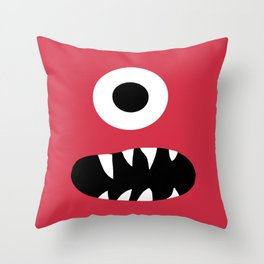 Kids Silly Red One Eyed Monster Throw Pillow