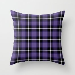 Ultra Violet color themed plaid SCOTTISH TARTAN Checkered Fabric Pattern background. Throw Pillow