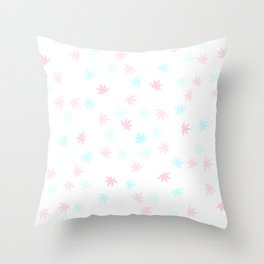 Teal and Pink Kush Leaf Throw Pillow