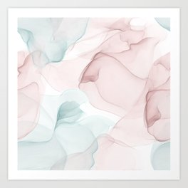 Blush and Blue Flowing Abstract Painting Art Print