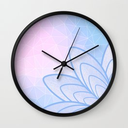 Flower on Pastel Pink and Blue Geometric Pattern Wall Clock