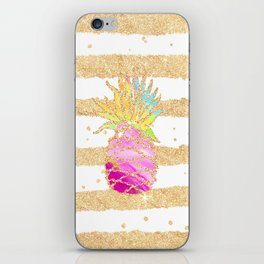 Modern pink watercolor pineapple faux gold glitter stripes iPhone Skin