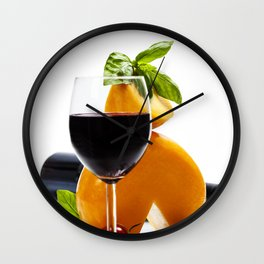 Wine, cheese and italian ingredients over white Wall Clock