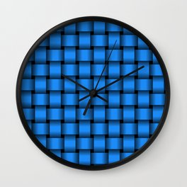 Small Dodger Blue Weave Wall Clock