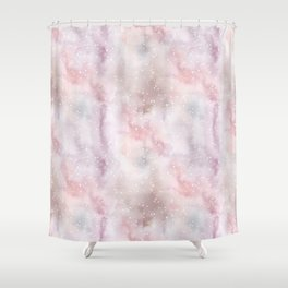 Mauve pink lilac white watercolor paint splatters Shower Curtain