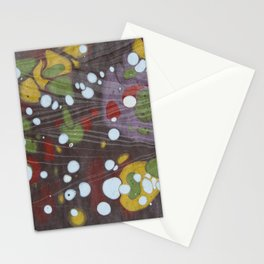 Hand Printed Marbling Colorful Spots Pattern Stationery Cards