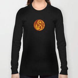 Yellow and Red Dragon Phoenix Yin Yang Long Sleeve T-shirt