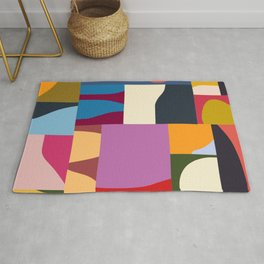 Ypres 02 Modern Mosaic Collage In Bright Hues Rug