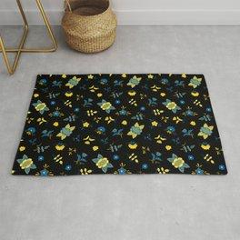 Yellow Blue - Swedish Folk Art Flowers Rug
