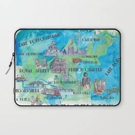 New Orleans Louisiana Favorite Travel Map with Touristic Highlights in colorful retro print Laptop Sleeve