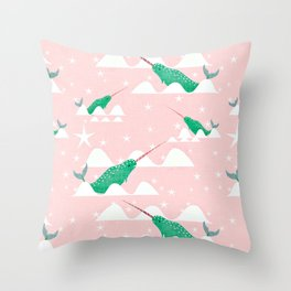 Sea unicorn - Narwhal green and pink Throw Pillow