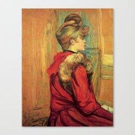 """Henri de Toulouse-Lautrec """"Girl in a Fur (Miss Jeanne Fountain)"""" Canvas Print"""