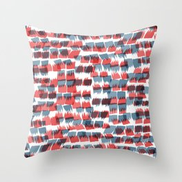 Red and Blue short brushstrokes - Sarah Bagshaw Throw Pillow