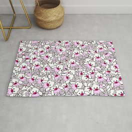 Cute Adorable Pink White Black Teddy Bear Collage Rug