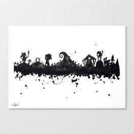 Halloween Town Nightmare Before Christmas Disney Tim Burton Inspired Watercolor Skyline Canvas Print