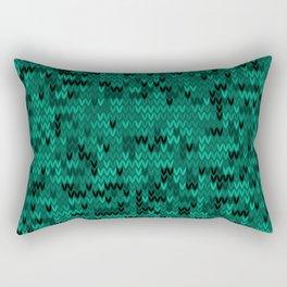 Green knitted textiles Rectangular Pillow