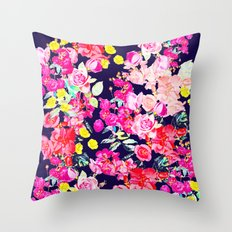 Summer Bright Antique Floral Print with Hot Pink, Yellow, and Navy V2 Throw Pillow