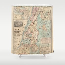 The Bible Readers Palestine Holy Land Map Shower Curtain