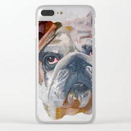 American Bulldog Portrait: Yale Mascot Clear iPhone Case