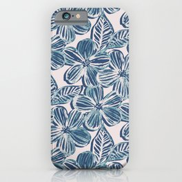 Bold Textured Teal and Grey Linework Floral iPhone Case