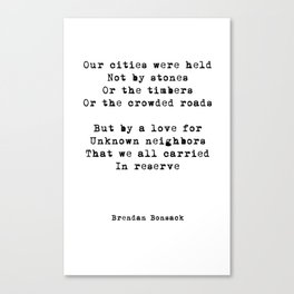 Our Cities (poem) Canvas Print
