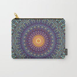Happy Sun Circle Bohemian Geometric Thread Weave Pattern \\ Yellow Green Blue Purple Color Scheme Carry-All Pouch