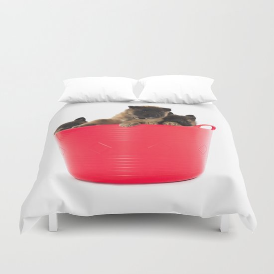 Three puppies in red laundry basket Duvet Cover