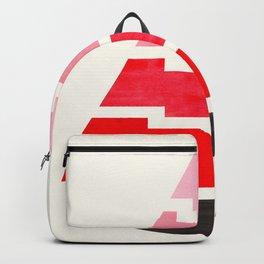 Futuristic Abstract Minimalist Mid Century Tribal Aztec Triangle Raindrop Red Geometric Pattern Backpack