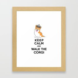 Keep Calm and Walk the Corgi Framed Art Print